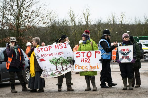 Protectors stopping the destruction caused by clearing for HS2