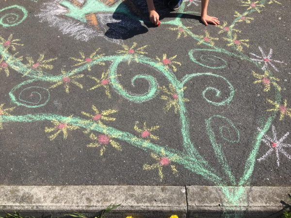 Chalked Pavement for #PaintTheStreets