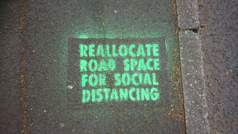 Green stencil reallocate road space for social distancing