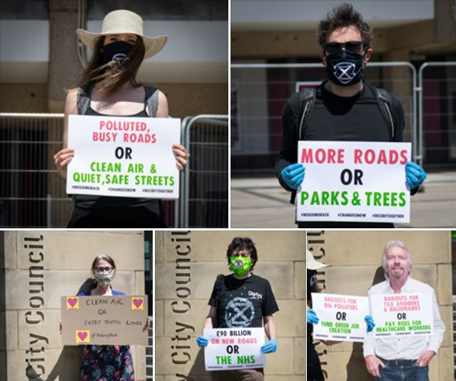 Montage of individual protesters holding signs, wearing face masks and gloves