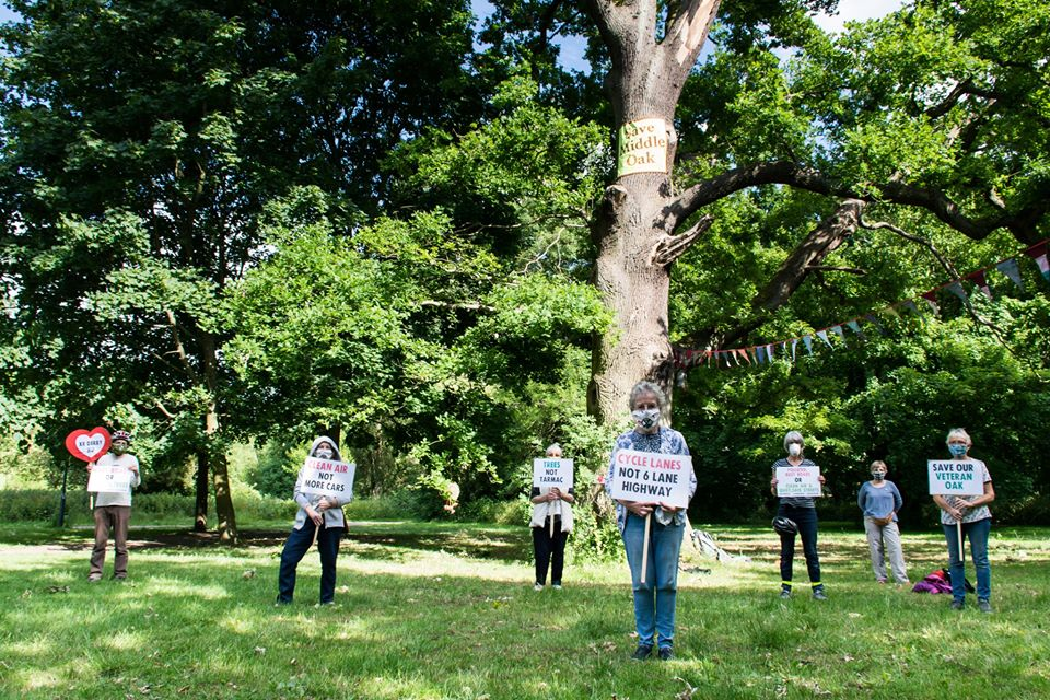 Veteran Oak with protesters holding signs and wearing face masks