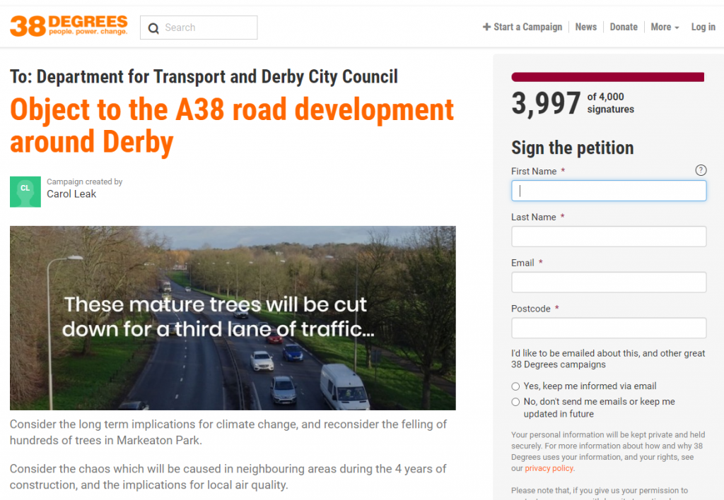 sign the stop the A38 works petition
